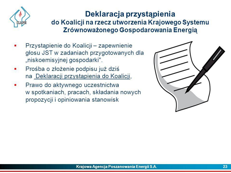 Krajowa Agencja Poszanowania Energii S.A. 23 Deklaracja przystąpienia do Koalicji na rzecz utworzenia Krajowego Systemu Zrównoważonego Gospodarowania