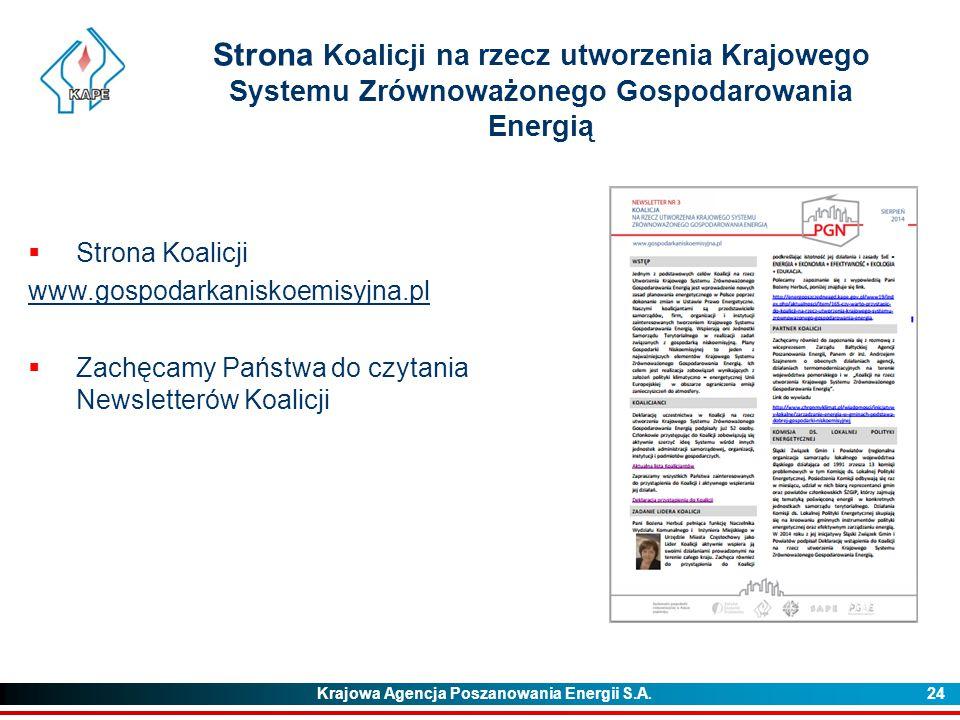 Krajowa Agencja Poszanowania Energii S.A. 24 Strona Koalicji na rzecz utworzenia Krajowego Systemu Zrównoważonego Gospodarowania Energią  Strona Koal