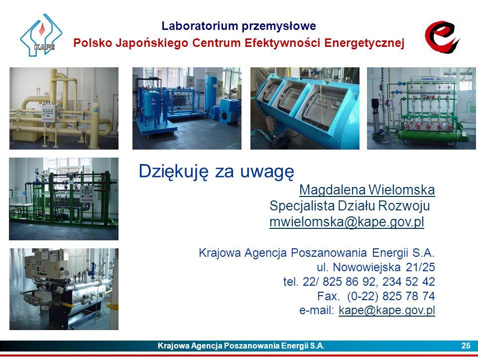 Krajowa Agencja Poszanowania Energii S.A. 25 Laboratorium przemysłowe Polsko Japońskiego Centrum Efektywności Energetycznej Dziękuję za uwagę Magdalen