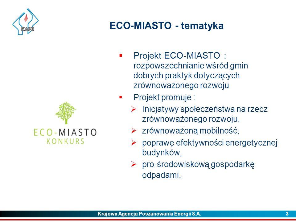 Krajowa Agencja Poszanowania Energii S.A. 3 ECO-MIASTO - tematyka  Projekt ECO-MIASTO : rozpowszechnianie wśród gmin dobrych praktyk dotyczących zrów