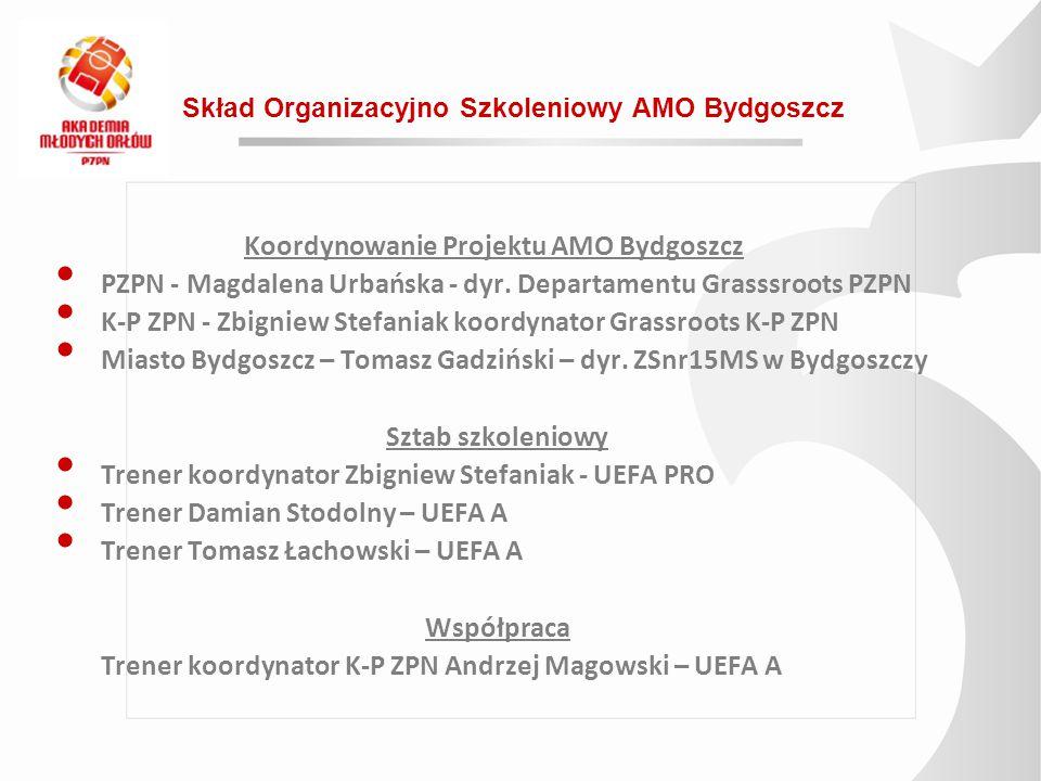 Skład Organizacyjno Szkoleniowy AMO Bydgoszcz Koordynowanie Projektu AMO Bydgoszcz PZPN - Magdalena Urbańska - dyr. Departamentu Grasssroots PZPN K-P