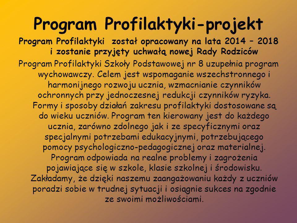 Program Profilaktyki-projekt Program Profilaktyki został opracowany na lata 2014 – 2018 i zostanie przyjęty uchwałą nowej Rady Rodziców Program Profil