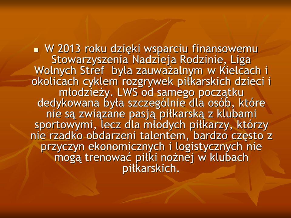 W 2013 roku dzięki wsparciu finansowemu Stowarzyszenia Nadzieja Rodzinie, Liga Wolnych Stref była zauważalnym w Kielcach i okolicach cyklem rozgrywek