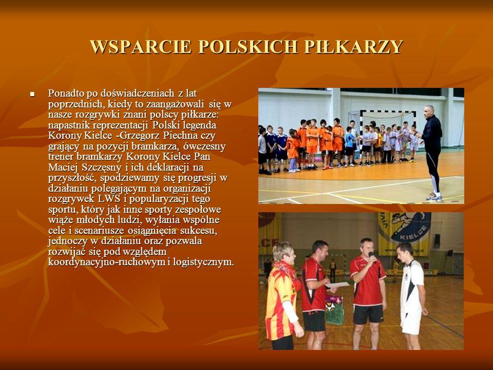 WSPARCIE POLSKICH PIŁKARZY Ponadto po doświadczeniach z lat poprzednich, kiedy to zaangażowali się w nasze rozgrywki znani polscy piłkarze: napastnik