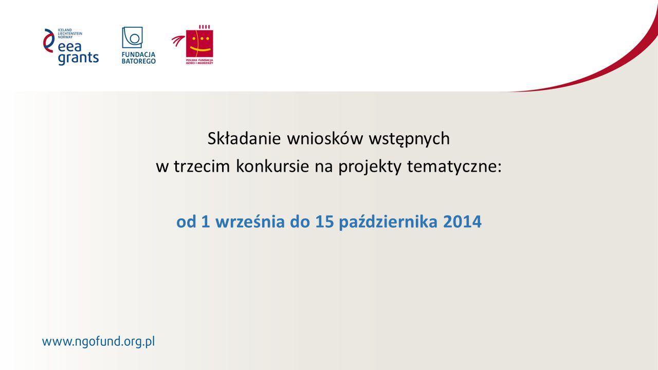 Składanie wniosków wstępnych w trzecim konkursie na projekty tematyczne: od 1 września do 15 października 2014