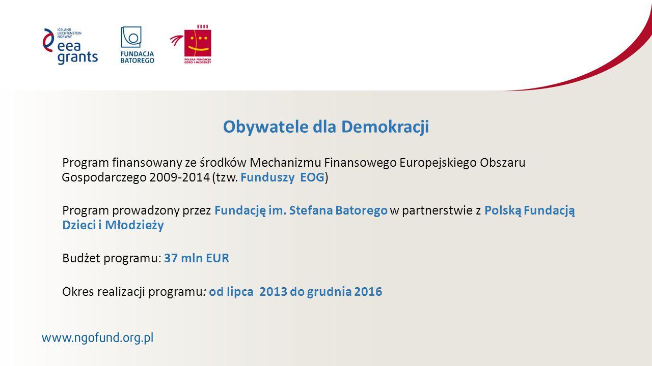 Obywatele dla Demokracji Program finansowany ze środków Mechanizmu Finansowego Europejskiego Obszaru Gospodarczego 2009-2014 (tzw.