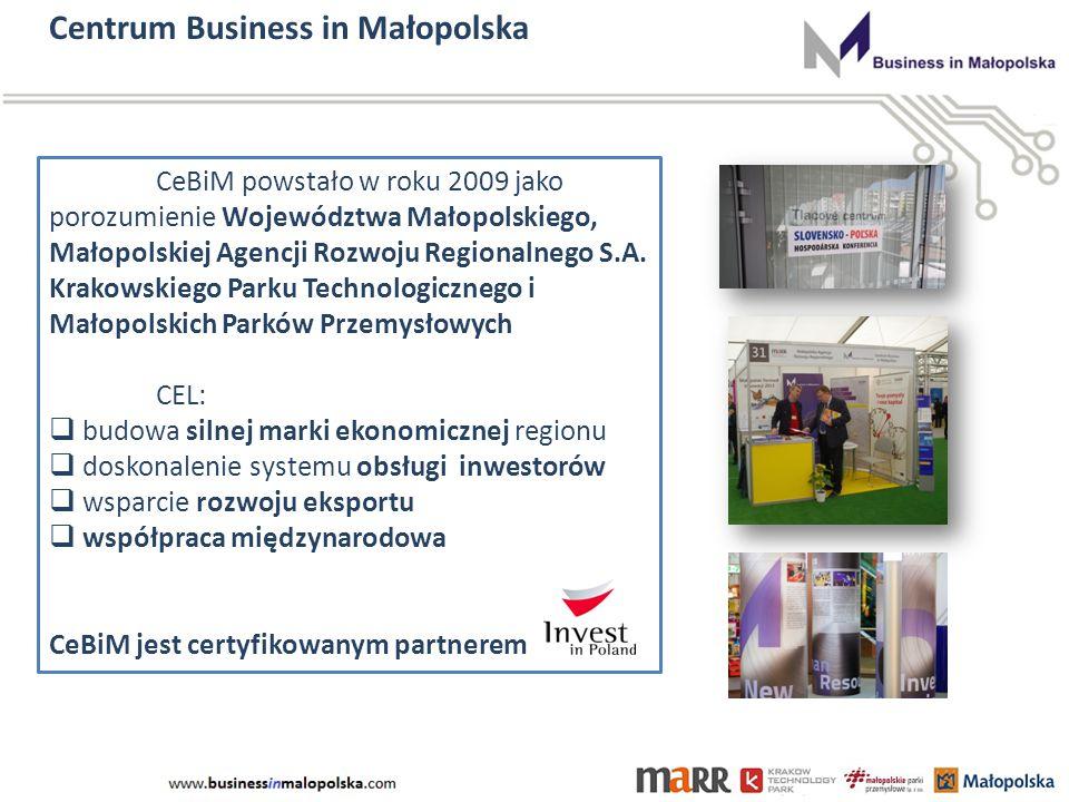Centrum Business in Małopolska CeBiM powstało w roku 2009 jako porozumienie Województwa Małopolskiego, Małopolskiej Agencji Rozwoju Regionalnego S.A.