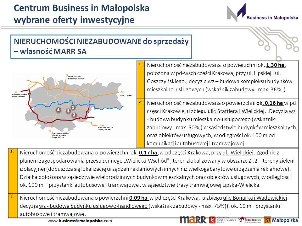 Centrum Business in Małopolska wybrane oferty inwestycyjne NIERUCHOMOŚCI NIEZABUDOWANE do sprzedaży – własność MARR SA 1.