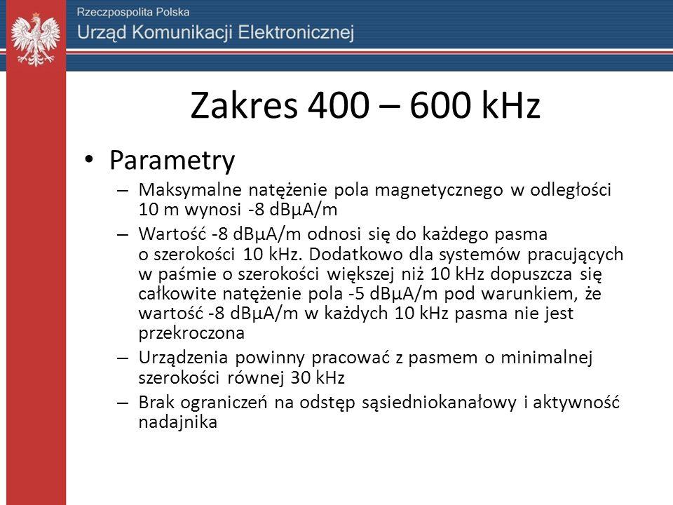 Zakres 400 – 600 kHz Parametry – Maksymalne natężenie pola magnetycznego w odległości 10 m wynosi -8 dBµA/m – Wartość -8 dBµA/m odnosi się do każdego pasma o szerokości 10 kHz.