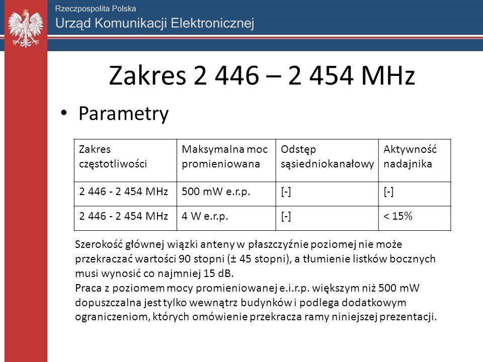 Zakres 2 446 – 2 454 MHz Parametry Zakres częstotliwości Maksymalna moc promieniowana Odstęp sąsiedniokanałowy Aktywność nadajnika 2 446 - 2 454 MHz500 mW e.r.p.[-] 2 446 - 2 454 MHz4 W e.r.p.[-]< 15% Szerokość głównej wiązki anteny w płaszczyźnie poziomej nie może przekraczać wartości 90 stopni (± 45 stopni), a tłumienie listków bocznych musi wynosić co najmniej 15 dB.