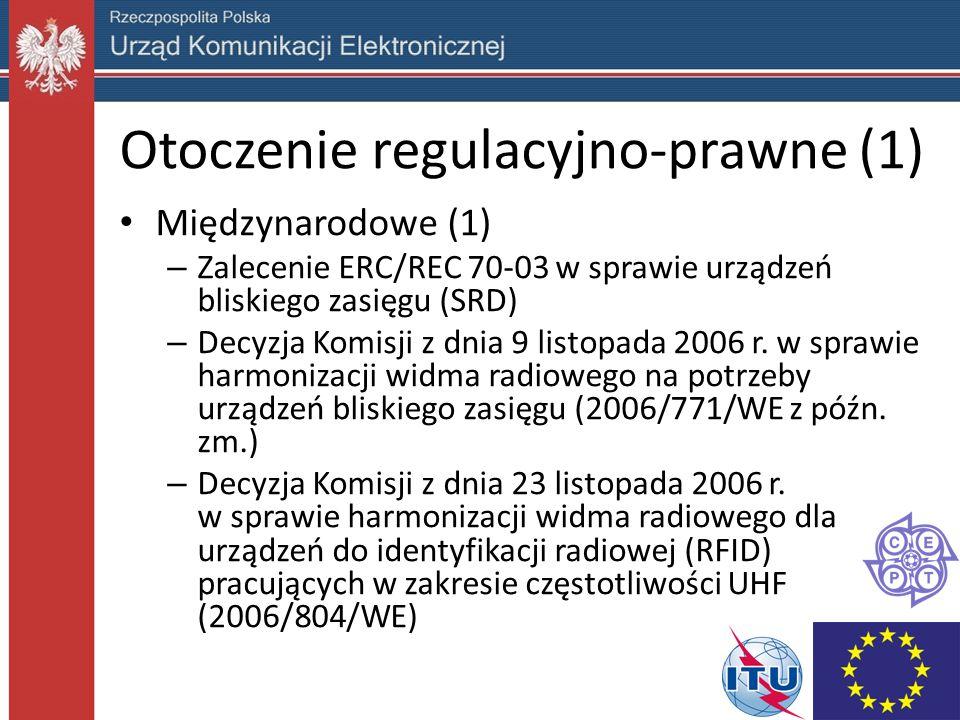 Otoczenie regulacyjno-prawne (1) Międzynarodowe (1) – Zalecenie ERC/REC 70-03 w sprawie urządzeń bliskiego zasięgu (SRD) – Decyzja Komisji z dnia 9 listopada 2006 r.