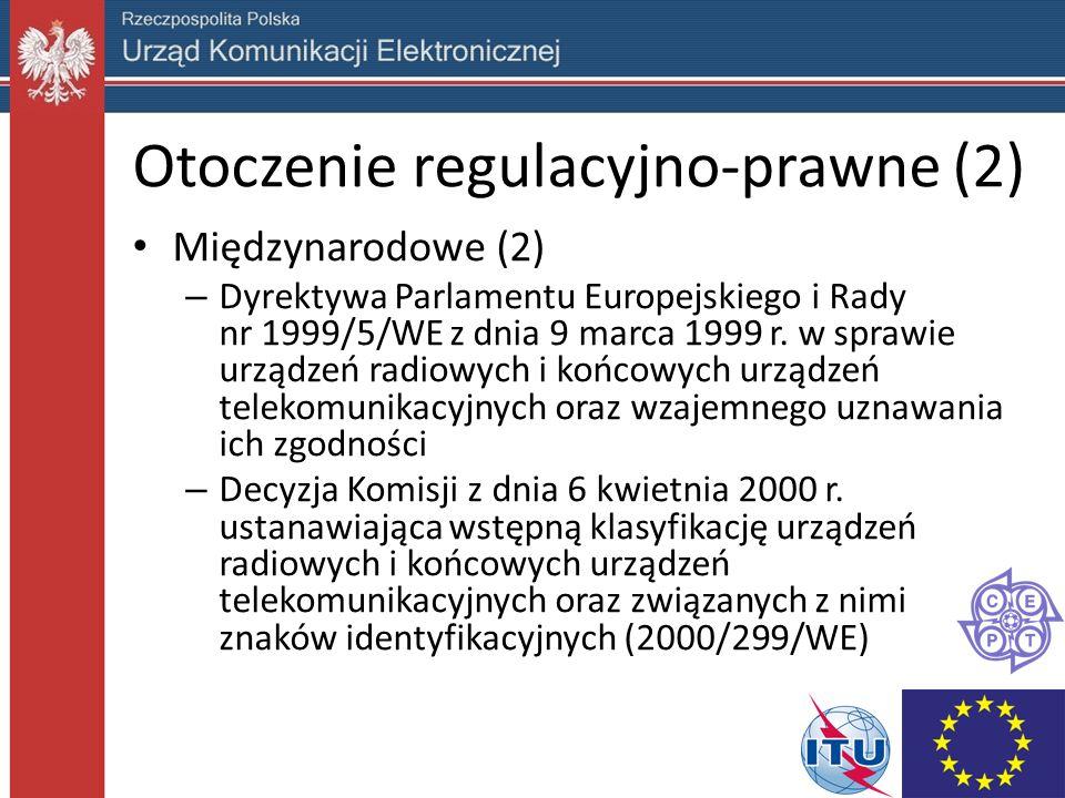 Otoczenie regulacyjno-prawne (2) Międzynarodowe (2) – Dyrektywa Parlamentu Europejskiego i Rady nr 1999/5/WE z dnia 9 marca 1999 r.