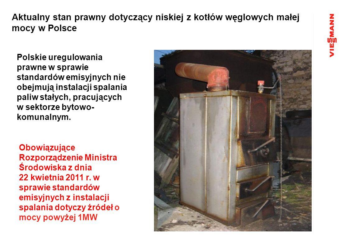 Aktualny stan prawny dotyczący niskiej z kotłów węglowych małej mocy w Polsce Polskie uregulowania prawne w sprawie standardów emisyjnych nie obejmują