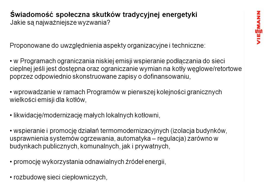 Proponowane do uwzględnienia aspekty organizacyjne i techniczne: w Programach ograniczania niskiej emisji wspieranie podłączania do sieci cieplnej jeś