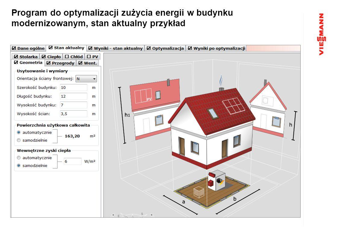 Program do optymalizacji zużycia energii w budynku modernizowanym, stan aktualny przykład