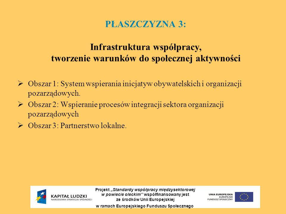 """PŁASZCZYZNA 3: Infrastruktura współpracy, tworzenie warunków do społecznej aktywności Projekt """"Standardy współpracy międzysektorowej w powiecie olecki"""