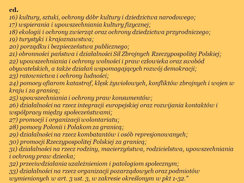 cd. 16) kultury, sztuki, ochrony dóbr kultury i dziedzictwa narodowego; 17) wspierania i upowszechniania kultury fizycznej; 18) ekologii i ochrony zwi