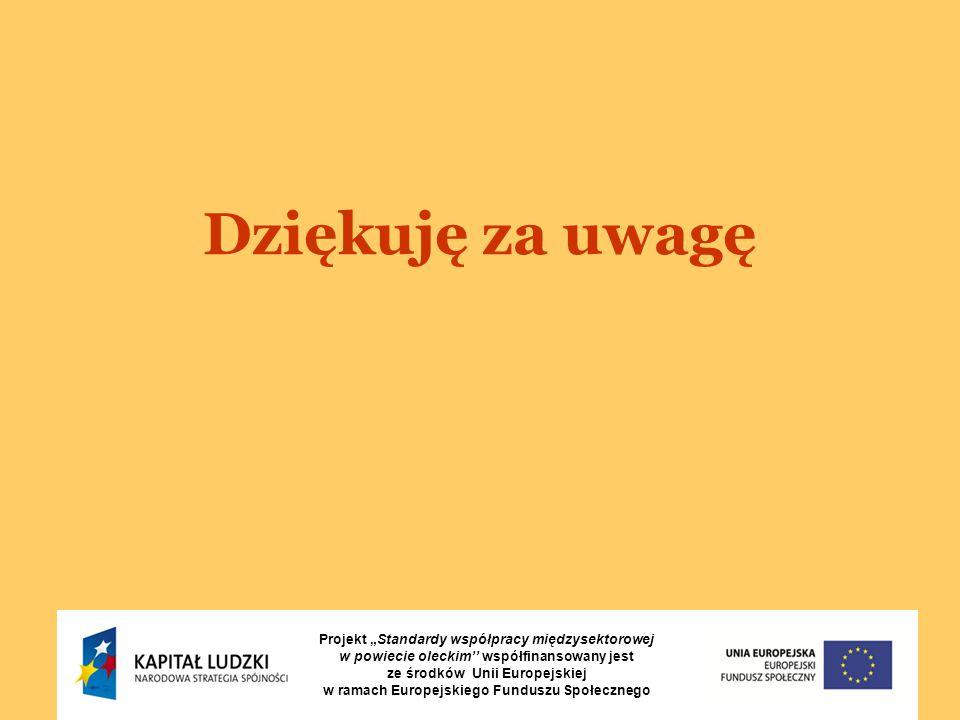 """Dziękuję za uwagę Projekt """"Standardy współpracy międzysektorowej w powiecie oleckim'' współfinansowany jest ze środków Unii Europejskiej w ramach Europejskiego Funduszu Społecznego"""