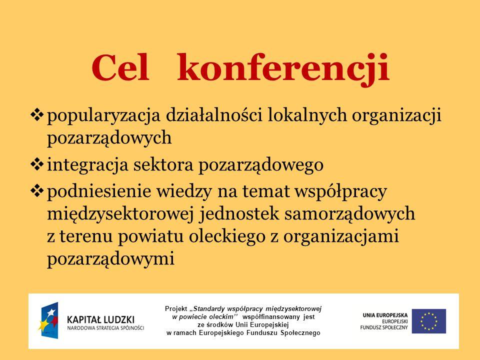 """Cel konferencji Projekt """"Standardy współpracy międzysektorowej w powiecie oleckim'' współfinansowany jest ze środków Unii Europejskiej w ramach Europe"""