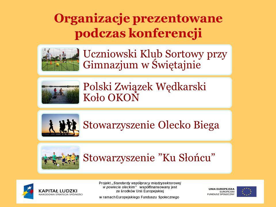 """Organizacje prezentowane podczas konferencji Projekt """"Standardy współpracy międzysektorowej w powiecie oleckim'' współfinansowany jest ze środków Unii"""