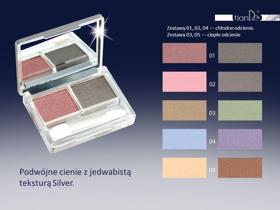 Podwójne cienie z jedwabistą teksturą Silver. Zestawy 01, 02, 04 — chłodne odcienie. Zestawy 03, 05 — ciepłe odcienie
