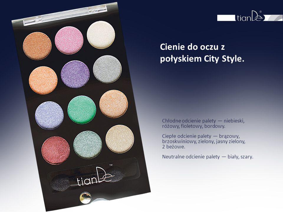 Cienie do oczu z połyskiem City Style. Chłodne odcienie palety — niebieski, różowy, fioletowy, bordowy. Ciepłe odcienie palety — brązowy, brzoskwiniow