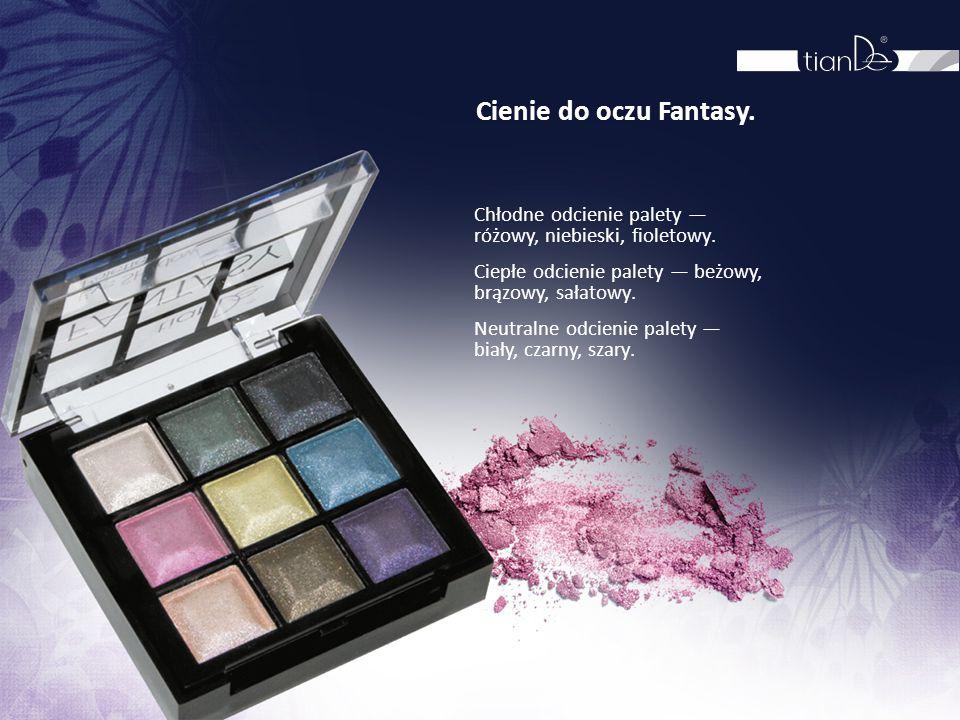Cienie do oczu Fantasy. Chłodne odcienie palety — różowy, niebieski, fioletowy. Ciepłe odcienie palety — beżowy, brązowy, sałatowy. Neutralne odcienie