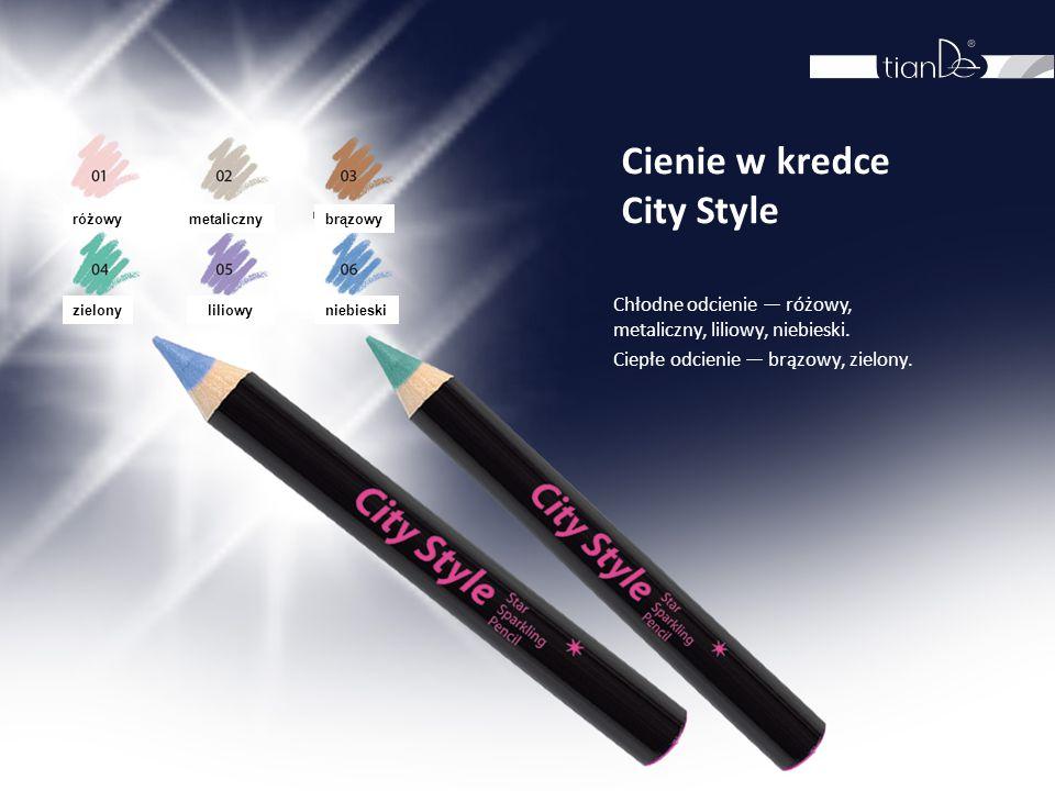 Cienie w kredce City Style Chłodne odcienie — różowy, metaliczny, liliowy, niebieski. Ciepłe odcienie — brązowy, zielony. różowy metalicznybrązowy zie