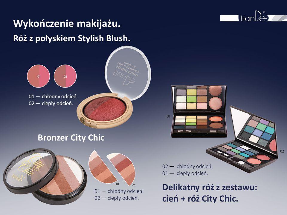 Wykończenie makijażu. Róż z połyskiem Stylish Blush. 01 — chłodny odcień. 02 — ciepły odcień. Bronzer City Chic 01 — chłodny odcień. 02 — ciepły odcie