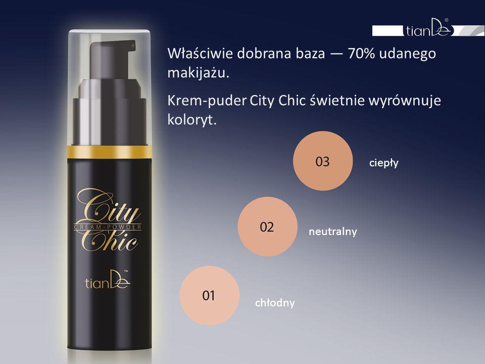 chłodny neutralny ciepły Właściwie dobrana baza — 70% udanego makijażu. Krem-puder City Chic świetnie wyrównuje koloryt.