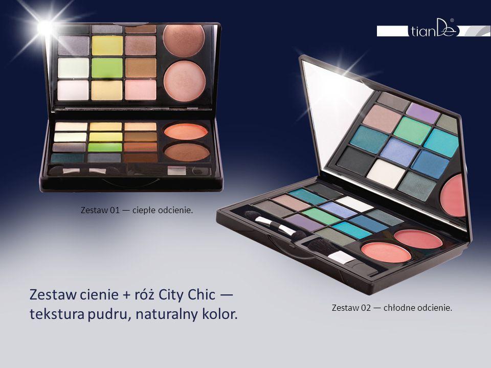 Zestaw cienie + róż City Chic — tekstura pudru, naturalny kolor. Zestaw 01 — ciepłe odcienie. Zestaw 02 — chłodne odcienie.