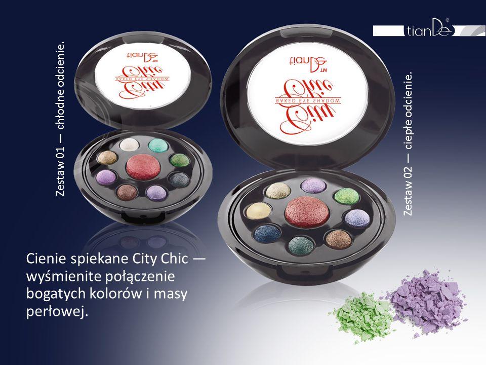 Cienie spiekane City Chic — wyśmienite połączenie bogatych kolorów i masy perłowej. Zestaw 01 — chłodne odcienie. Zestaw 02 — ciepłe odcienie.