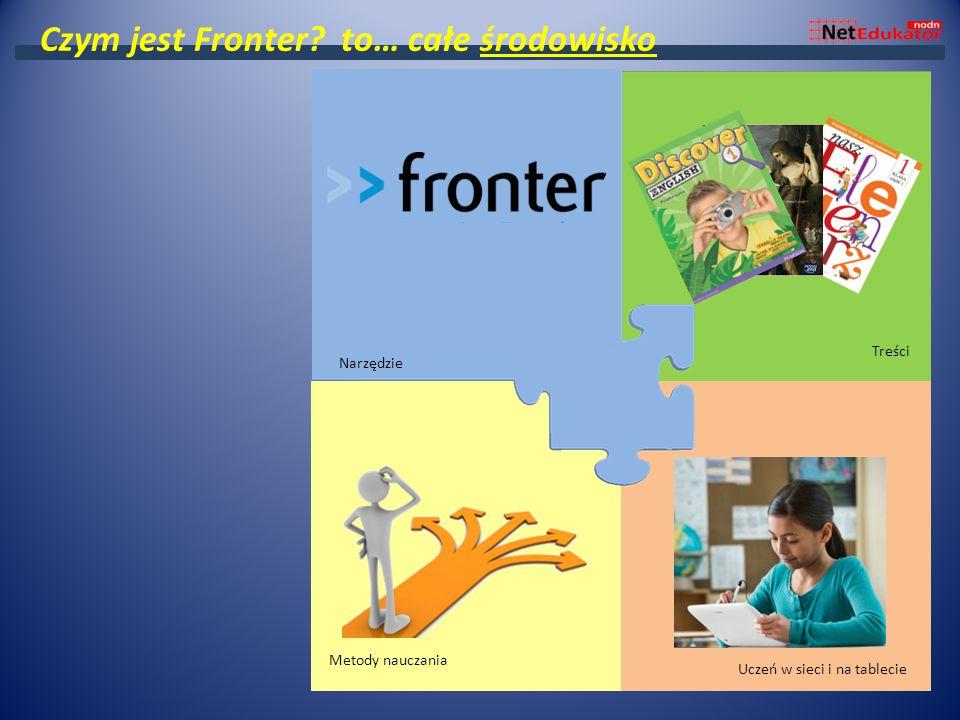 Środowisko wirtualnej szkoły Podręczniki Samodzielna praca ucznia Projekt i odwrócona klasa Treści Metody nauczania Uczeń w sieci i na tablecie Czym jest Fronter.