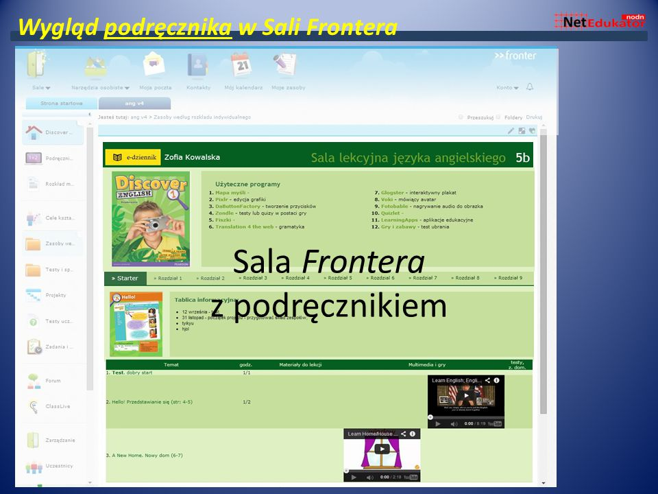 Sala frontera przygotowana pod podręcznik Sala Frontera z podręcznikiem Wygląd podręcznika w Sali Frontera