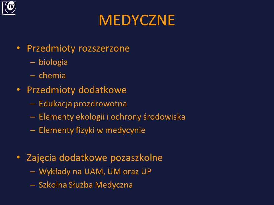 MEDYCZNE Przedmioty rozszerzone – biologia – chemia Przedmioty dodatkowe – Edukacja prozdrowotna – Elementy ekologii i ochrony środowiska – Elementy f