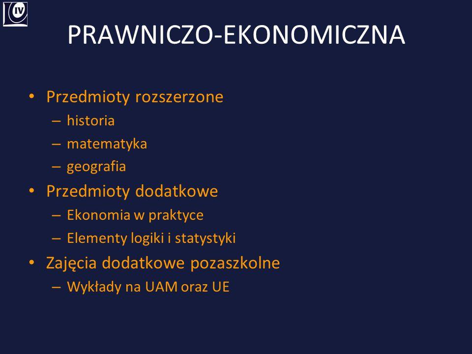 PRAWNICZO-EKONOMICZNA Przedmioty rozszerzone – historia – matematyka – geografia Przedmioty dodatkowe – Ekonomia w praktyce – Elementy logiki i statys