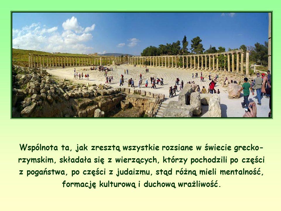 Wspólnota ta, jak zresztą wszystkie rozsiane w świecie grecko- rzymskim, składała się z wierzących, którzy pochodzili po części z pogaństwa, po części z judaizmu, stąd różną mieli mentalność, formację kulturową i duchową wrażliwość.