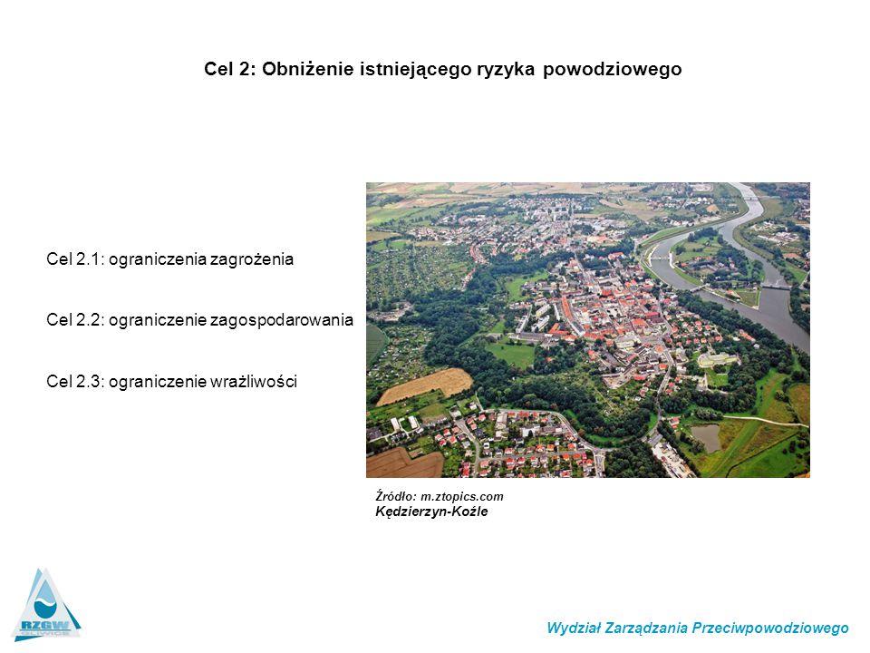 Cel 2: Obniżenie istniejącego ryzyka powodziowego Wydział Zarządzania Przeciwpowodziowego Cel 2.1: ograniczenia zagrożenia Cel 2.2: ograniczenie zagos