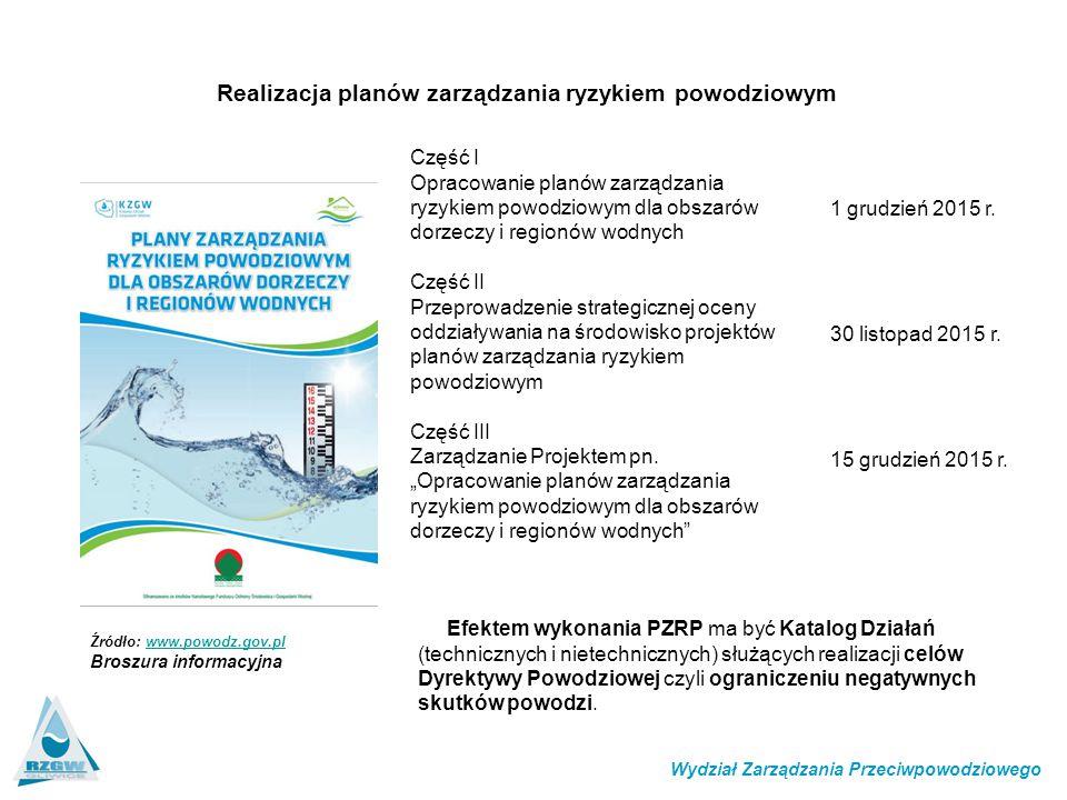 Realizacja planów zarządzania ryzykiem powodziowym Źródło: www.powodz.gov.plwww.powodz.gov.pl Broszura informacyjna Część I Opracowanie planów zarządzania ryzykiem powodziowym dla obszarów dorzeczy i regionów wodnych Część II Przeprowadzenie strategicznej oceny oddziaływania na środowisko projektów planów zarządzania ryzykiem powodziowym Część III Zarządzanie Projektem pn.