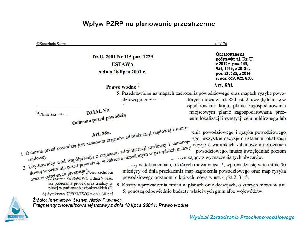 Art. 88f. Wpływ PZRP na planowanie przestrzenne Wydział Zarządzania Przeciwpowodziowego Źródło: Internetowy System Aktów Prawnych Fragmenty znowelizow