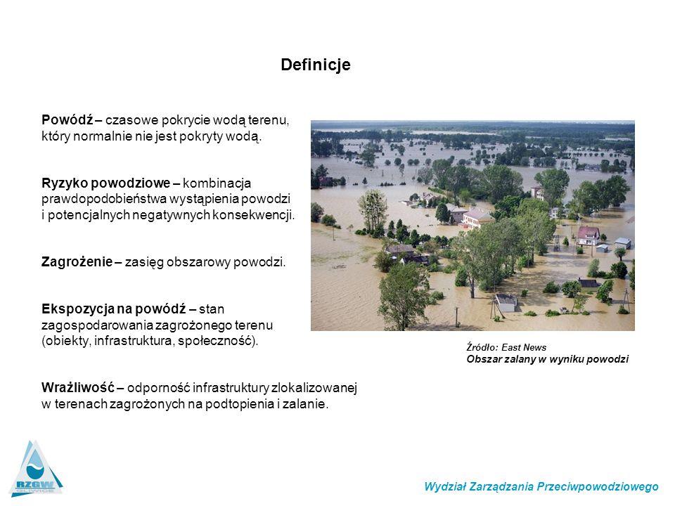 Powódź – czasowe pokrycie wodą terenu, który normalnie nie jest pokryty wodą. Ryzyko powodziowe – kombinacja prawdopodobieństwa wystąpienia powodzi i