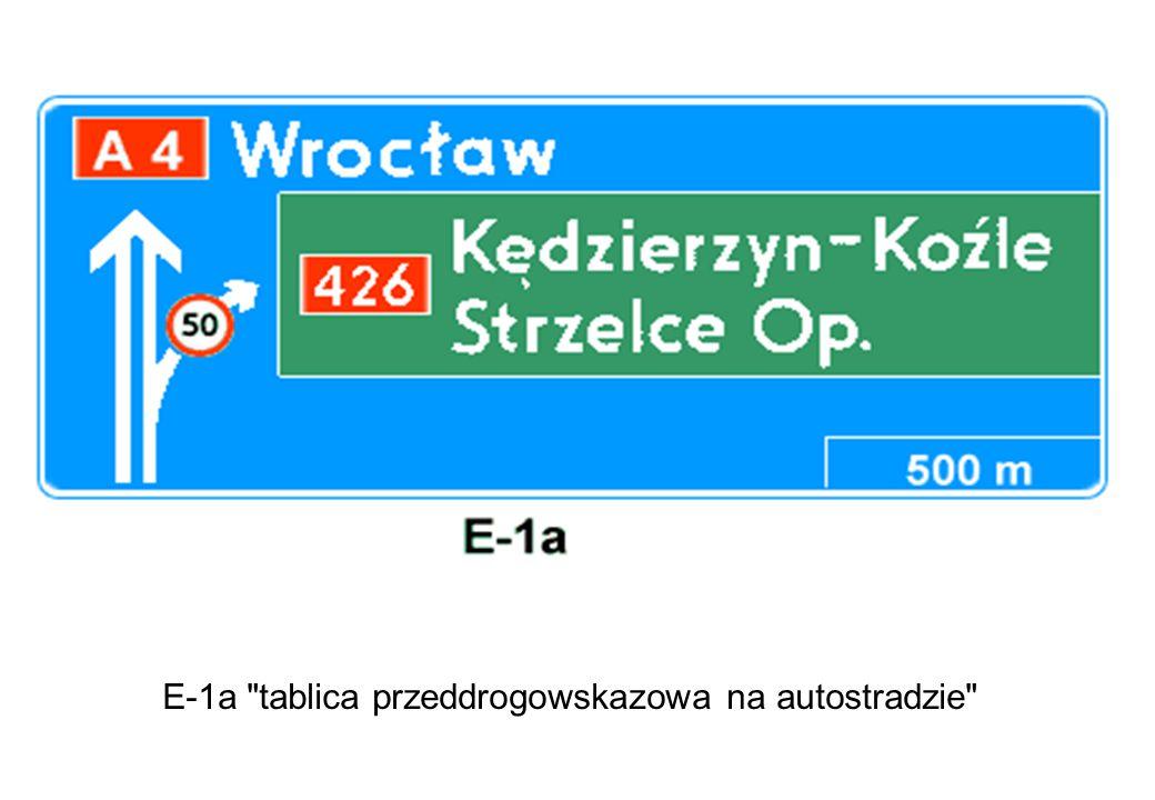E-1a tablica przeddrogowskazowa na autostradzie