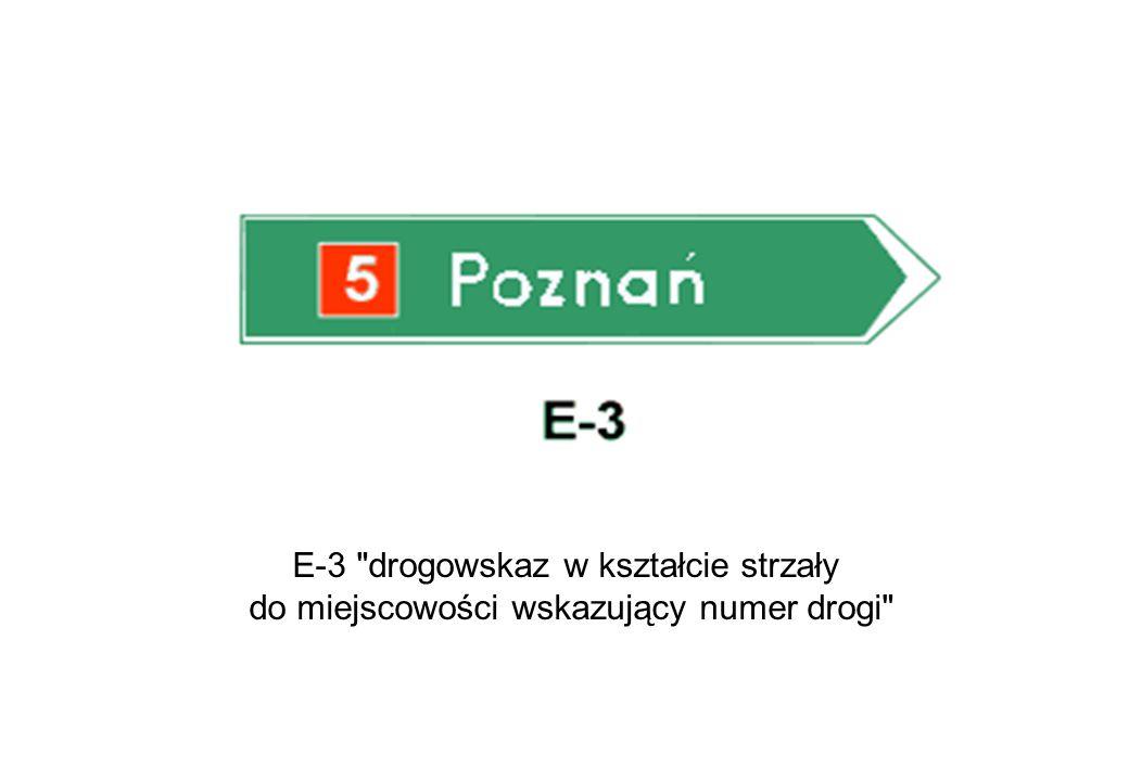 E-3 drogowskaz w kształcie strzały do miejscowości wskazujący numer drogi
