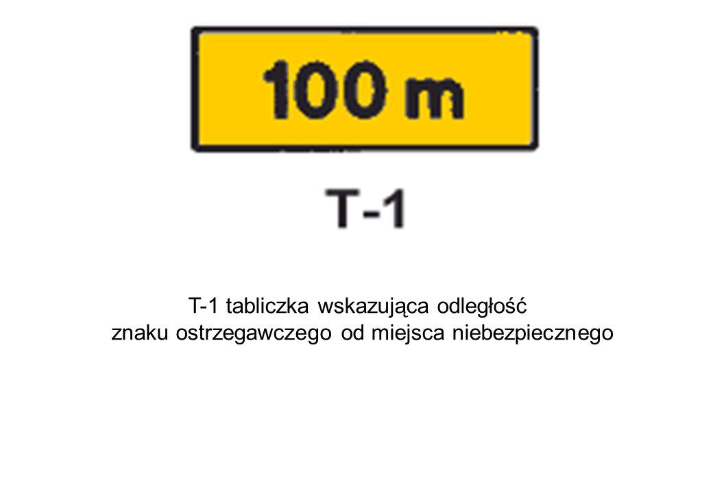 T-1 tabliczka wskazująca odległość znaku ostrzegawczego od miejsca niebezpiecznego