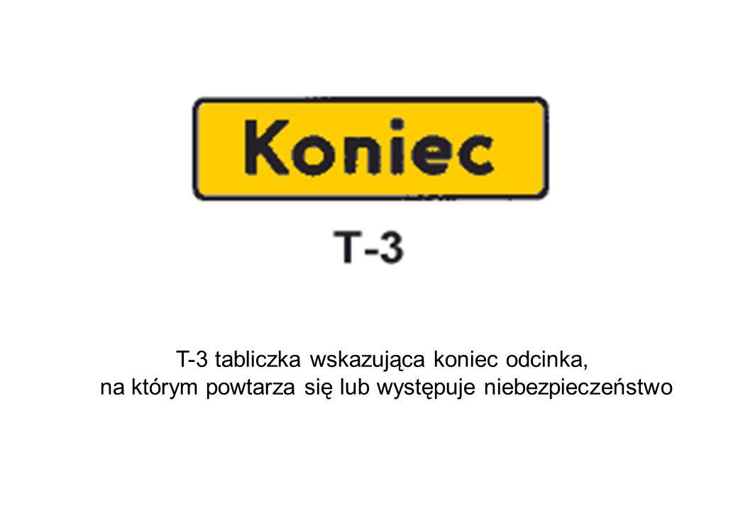 T-3 tabliczka wskazująca koniec odcinka, na którym powtarza się lub występuje niebezpieczeństwo