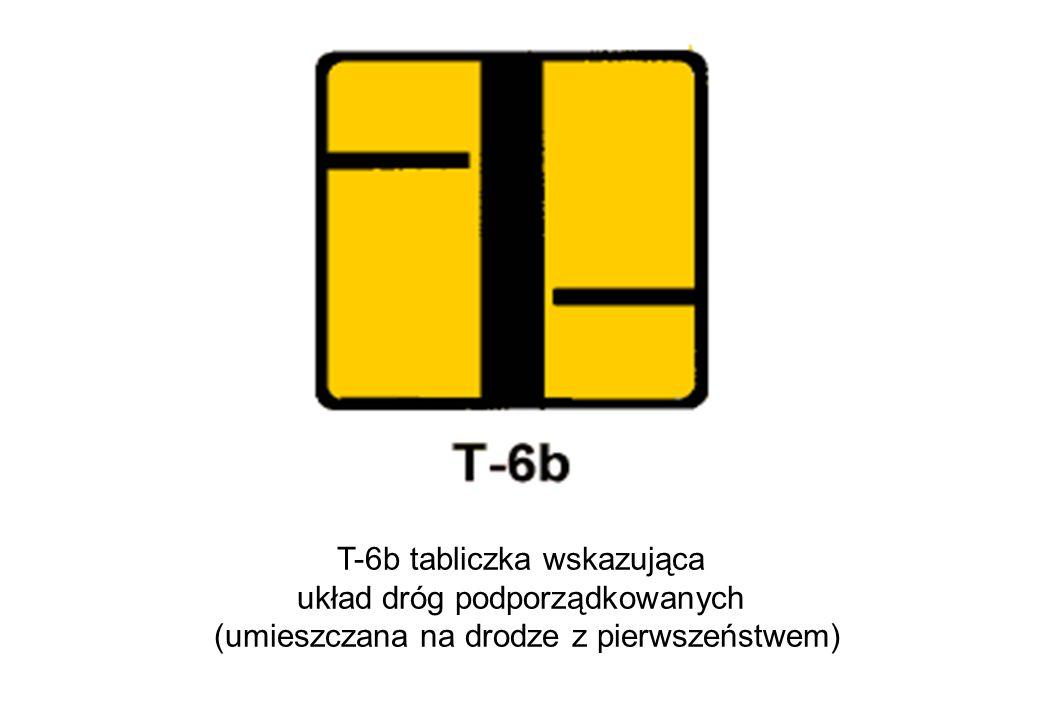 T-6b tabliczka wskazująca układ dróg podporządkowanych (umieszczana na drodze z pierwszeństwem)