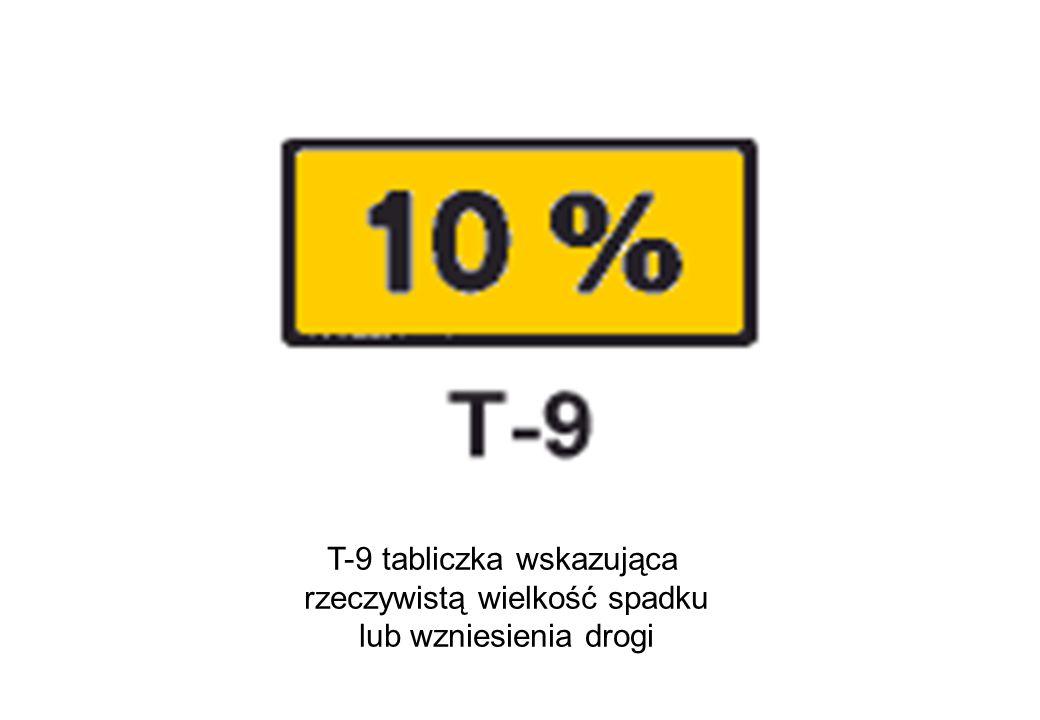 T-9 tabliczka wskazująca rzeczywistą wielkość spadku lub wzniesienia drogi
