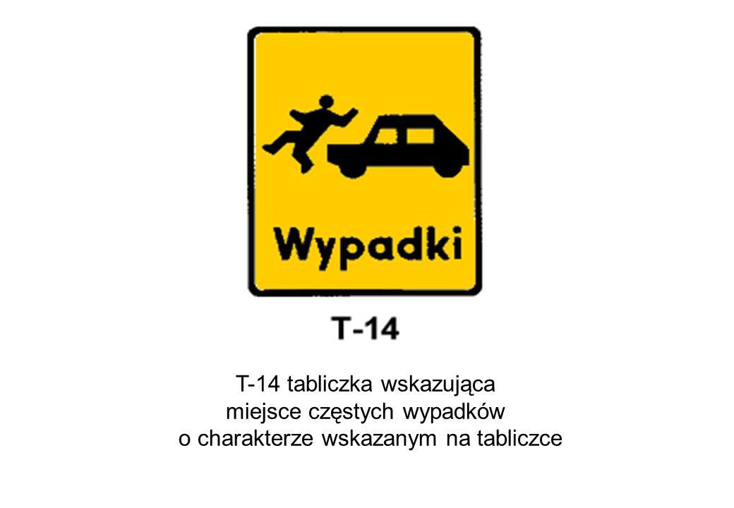 T-14 tabliczka wskazująca miejsce częstych wypadków o charakterze wskazanym na tabliczce