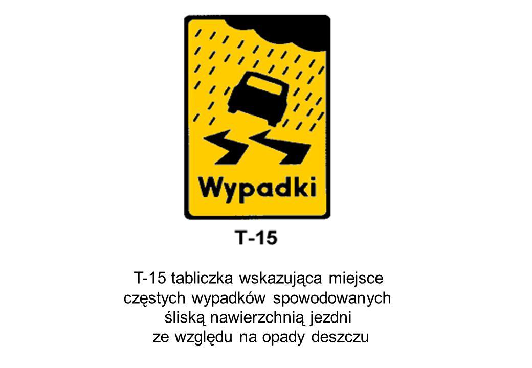 T-15 tabliczka wskazująca miejsce częstych wypadków spowodowanych śliską nawierzchnią jezdni ze względu na opady deszczu