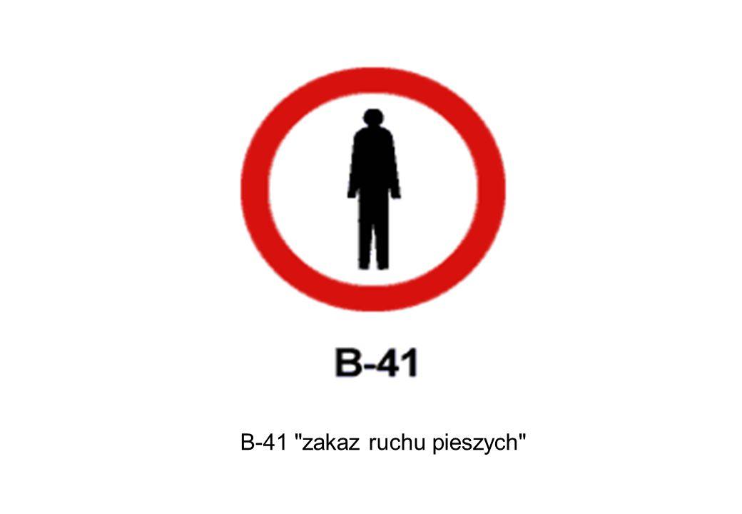 B-41 zakaz ruchu pieszych